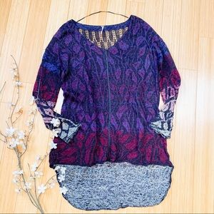 FREE PEOPLE purple leaf tunic sweater, S.